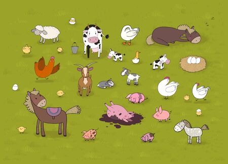 Farm animals. Cute cartoon horse, cow and goat, sheep and goose, chicken and pig. Ilustracja