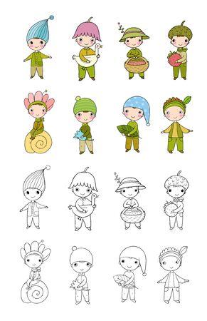 set of cute little gnomes. Little people Ilustracja