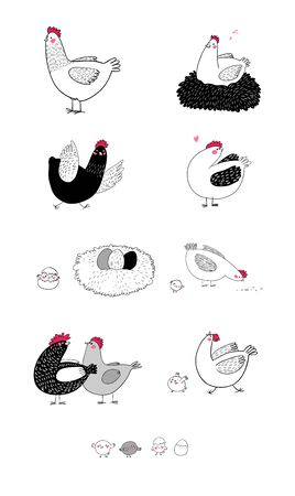 Set with cartoon cute chicken, nest and eggs. Farm animals Vektoros illusztráció