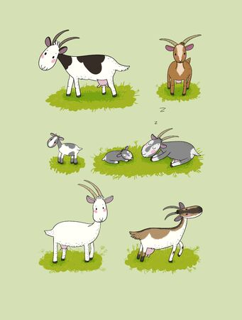 Cute cartoon goat. Farm animals. Different breeds of goats