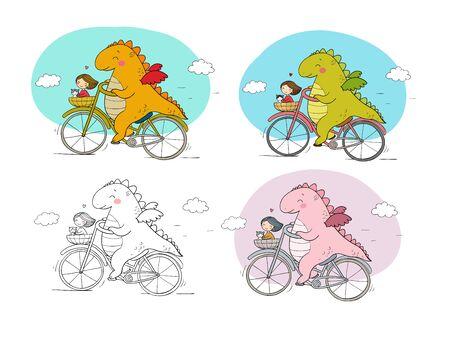 funny cartoon dinosaur on a bicycle. Cute dragon traveler, girl and cat. Ilustracja