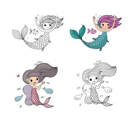 Beautiful little mermaid. Siren. Sea theme. Cute girl