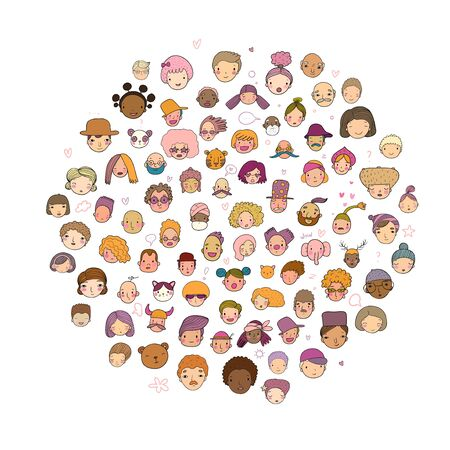 Pattern with graphical faces. Vector illustration. Set of people icons
