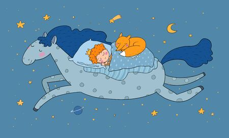 The boy in the crown sleeps on a magic pony. The little king. Good night. Sweet Dreams