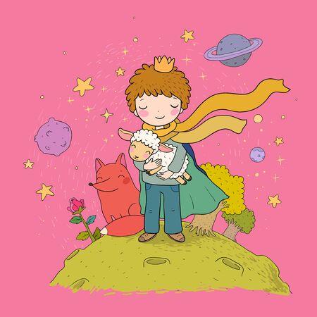 Il Piccolo Principe.Una fiaba su un ragazzo, una rosa, un pianeta e una volpe. Vettore