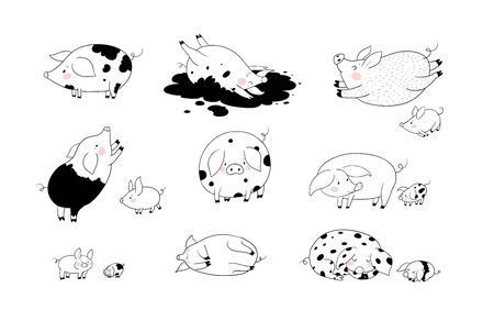 Set with cute cartoon pigs. Farm animals