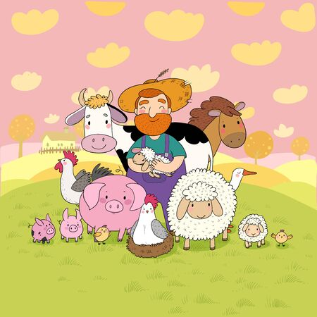 Cute cartoon farmer and animals. Country man and cow, horse and sheep, chicken and goose, pig and rooster. Vector