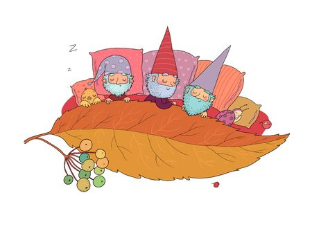 Three gnomes sleep under the leaf. Forest elves. Vector