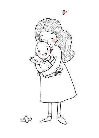 Mom and baby. Cute Cartoon Woman and Baby