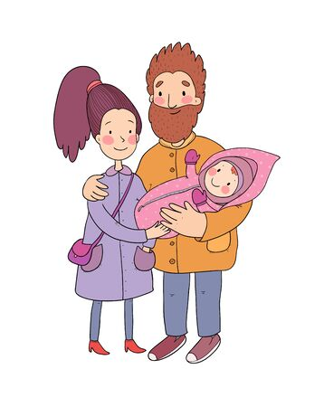 Happy family with newborns. Mom, dad and kids on a walk. Cute cartoon couple and baby Ilustracja
