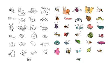Insectes de dessin animé mignon. Papillons drôles, coléoptères, mouches, moustiques et escargots. Vecteur