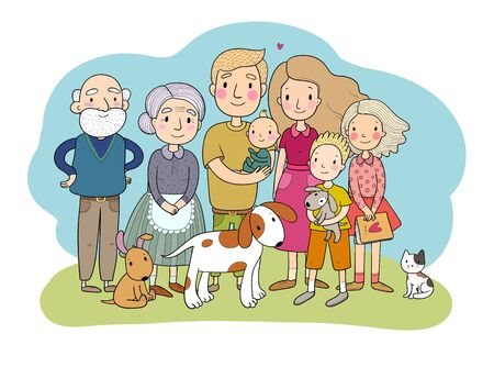 A happy family. Parents with children. Cute cartoon dad, mom, daughter, son and baby. grandmother and grandfather. Funny pet cat and dog. Vector