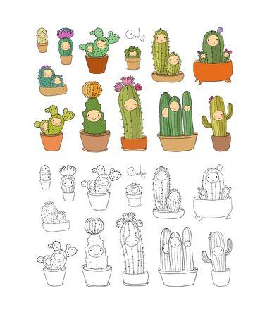 Cute cartoon cactus and succulents in pots. vector isolated illustration vector Ilustracja
