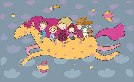 Cute cartoon children are flying on a magic horse. Children s party birthday greeting card. Ilustracja