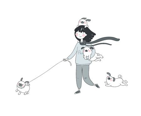 Cartoon woman on a walk with puppies. Beautiful young girl and a cute pug. Pets. Vector