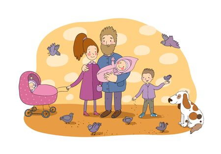 Happy family with newborns. Mom, dad and kids on a walk. Cheerful funny dog and pigeons. Cute cartoon couple and baby
