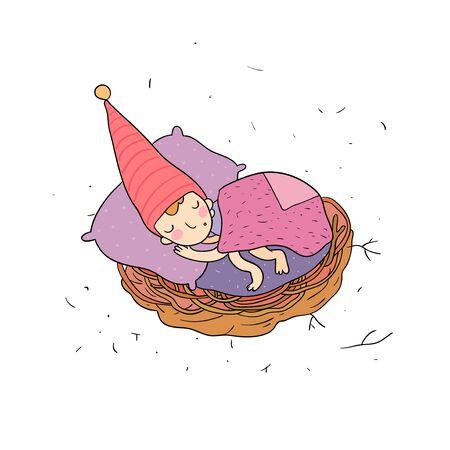 Cute cartoon gnomes. New Year s set. Christmas elves. Vector illustration.