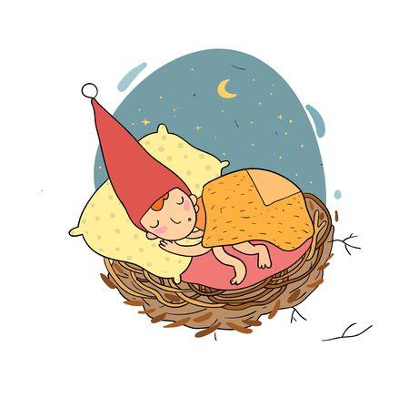 Cute cartoon gnomes. Christmas elves. forest trolls. Vector