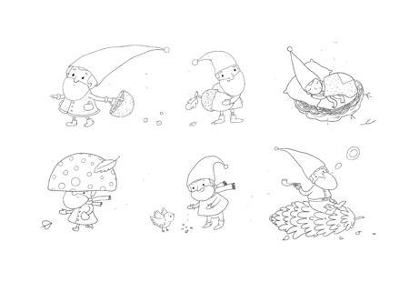 Cute cartoon gnomes. New Year s set. Christmas elves. Vector Illustration