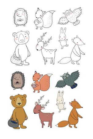 Animals of the forest. Set with cute cartoon bears, fox, hare and squirrel, owl and deer. Design for children. Vector