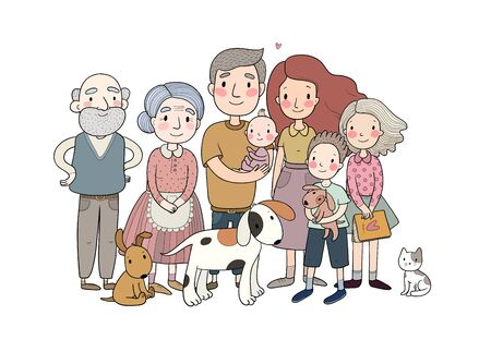 A happy family. Parents with children. Cute cartoon dad, mom, daughter, son and baby. grandmother and grandfather. Vector illustration Ilustracja