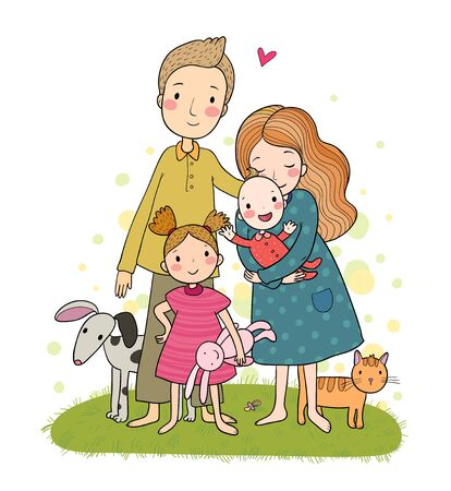 A happy family. Cute cartoon dad, mom, daughter and baby. Funny cat and dog. Pets. Vector