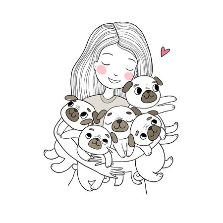 Girl with funny cute pugs. Cartoon cheerful dogs. five puppies. Picture for the veterinarian.