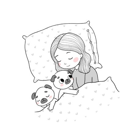 Sleeping beautiful young girl and a cute pugs. Funny Favourite pet puppy under blanket. Vector illustration.