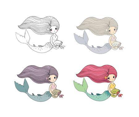 Set of Cute cartoon little mermaid. Siren. Sea theme.