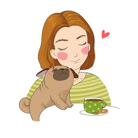young girl and a cute pug. beautiful woman and cute puppy Illustration
