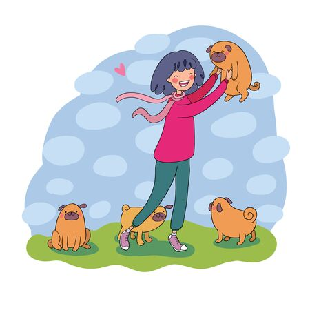 Cartoon woman on a walk with puppies. Beautiful young girl and a cute pug. Pets.