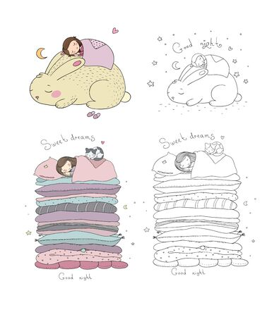 Sleeping girls set. Princess on the Pea. Time to sleep. Good night. Sweet Dreams. Linens. Pillows and blankets. Vector