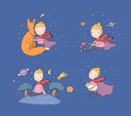 Un conte de fées sur un garçon, une rose, une planète et un renard. prince avec un mouton. Petit Prince. Vecteur