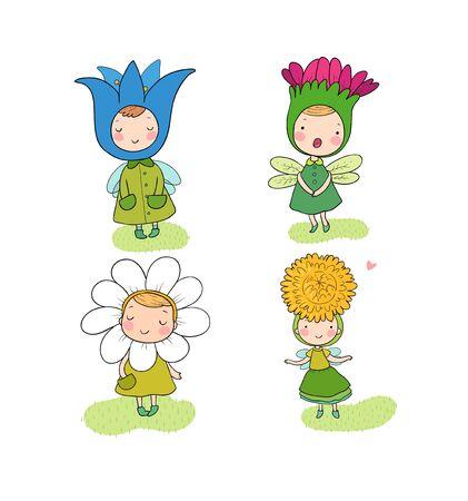 Cute cartoon flower fairies. Forest gnomes. Fairytale creatures. Funny kids