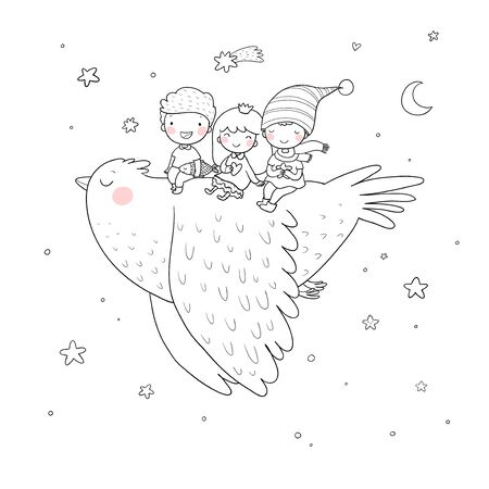 Cute cartoon kids are flying on a bird. Funny gnomes and princess. Little elves. small children Illustration