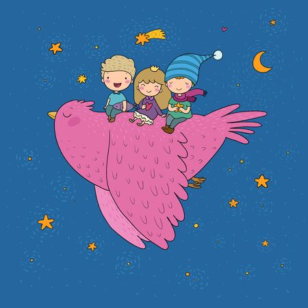 Cute cartoon kids are flying on a bird. Funny gnomes and princess. Little elves. small children. vector