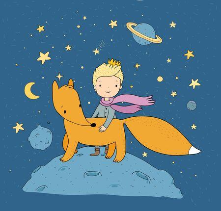 El Principito Un cuento de hadas sobre un niño, una rosa, un planeta y un zorro. Vector
