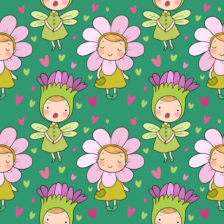 Pattern with Cute cartoon flower fairies. Forest gnomes. Fairytale creatures. Funny kids Иллюстрация