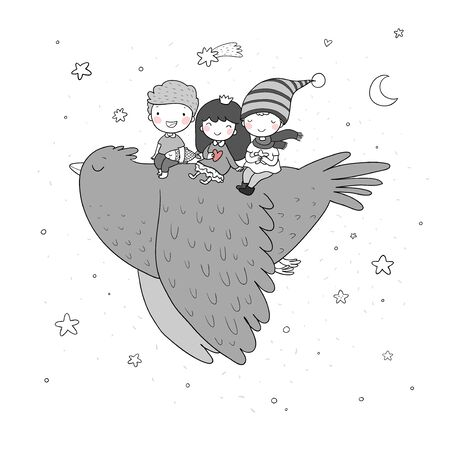 Cute cartoon kids are flying on a bird. Funny gnomes and princess. Little elves. small children Vettoriali