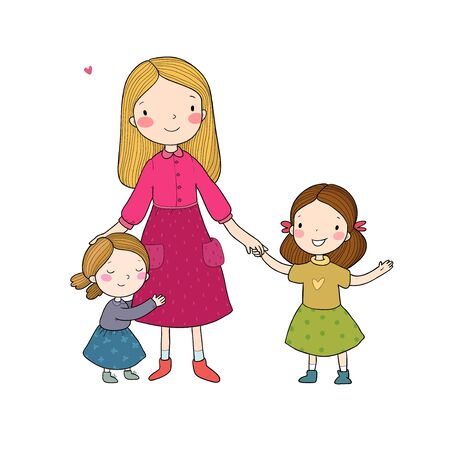Young mother and two daughters. Cute cartoon sisters. Happy family. Kindergarten teacher