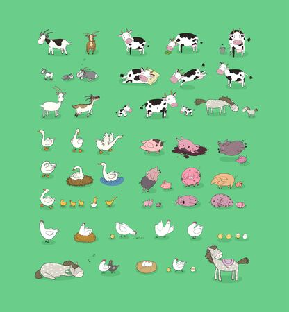 Cute cartoon farm animals and birds. Funny horses and cows, hens, geese and goats. Extra Big set.