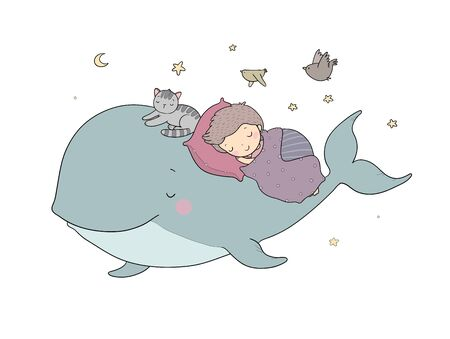 Cute cartoon boy and whale. Good night. time to sleep. Coloring page