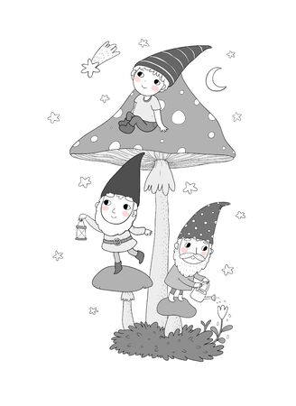 Three cute cartoon gnomes. Forest elves. Fairy tale characters.
