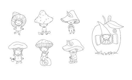 Cute cartoon gnomes mushrooms. Forest elves. Little fairies