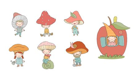 Cute cartoon gnomes mushrooms. Forest elves. Little fairies