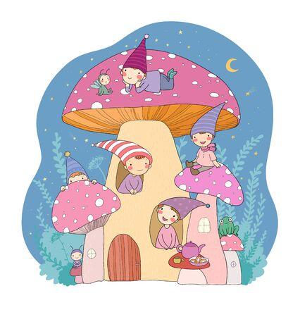 Cute cartoon gnomes, mushroom house and frog. Forest magic elves Stock Illustratie