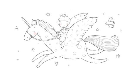 Cute cartoon boy flies on a pegasus. Little prince and unicorn