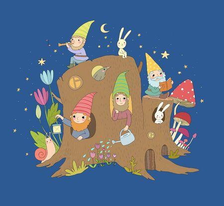 Cute cartoon gnomes in a stump house. Magic forest elves
