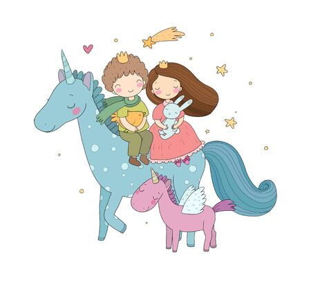 Prince and princess are flying on a unicorn. Cute cartoon kids and fairy pony. Stock Illustratie