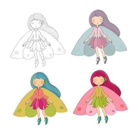 Cute little fairy. Princess and wood elves Illusztráció